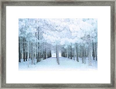 Pastel Baby Blue Nature Trees Woodlands - Baby Boy Pastel Blue Nursery Nature Decor Prints Wall Art Framed Print by Kathy Fornal