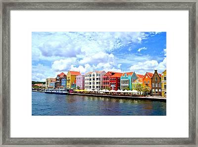 Pastel Building Coastline Of Caribbean Framed Print