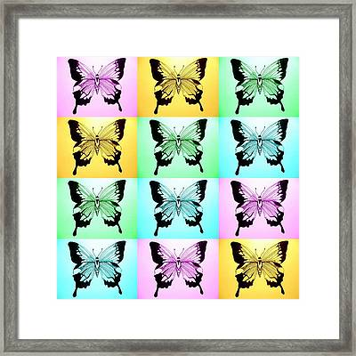 Pastel Butterflies Framed Print by Cathy Jacobs