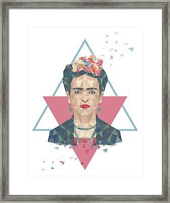 Pastel Frida - Geometric Portrait With Triangles Framed Print by Julia Jasiczak