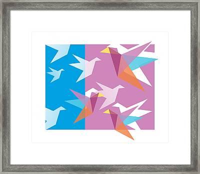 Pastel Paper Cranes Framed Print by Julia Jasiczak