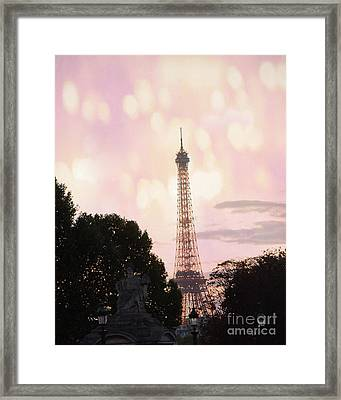 Framed Print featuring the photograph Pastel Paris Eiffel Tower Sunset Bokeh Lights - Romantic Eiffel Tower Pink Pastel Home Decor by Kathy Fornal