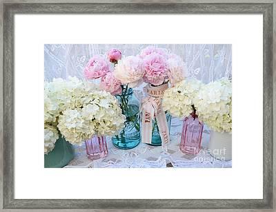 Pastel Pink Peonies Shabby Chic Art - Spring Flower Garden Peonies Hydrangeas In Vintage Jars Framed Print by Kathy Fornal