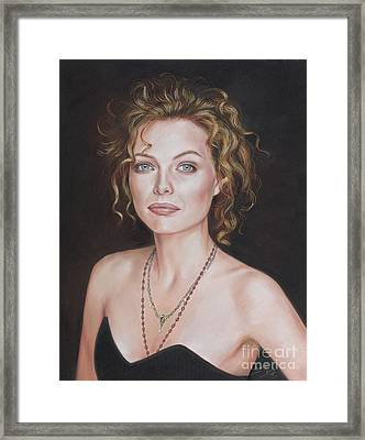 Pastel Portrait Of Amazing Michelle Pfeiffer Framed Print by Teodor Bozhinov