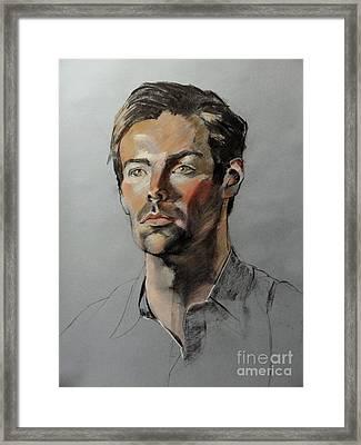 Pastel Portrait Of Handsome Guy Framed Print