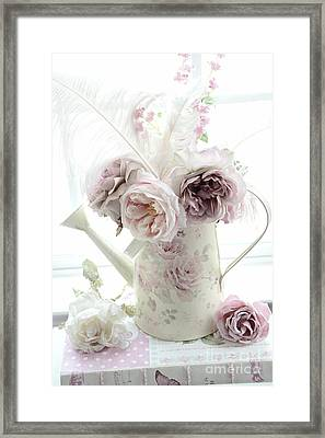 Framed Print featuring the photograph Pastel Romantic Shabby Chic Pink Flowers In Watering Can - Romantic Cottage Floral Home Decor  by Kathy Fornal