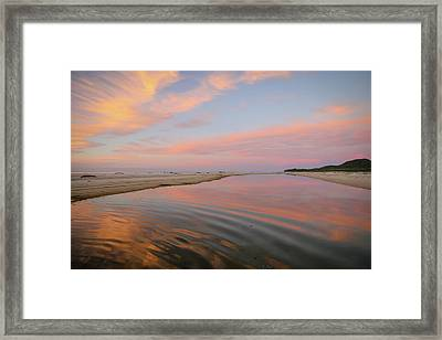 Pastel Skies And Beach Lagoon Reflections Framed Print
