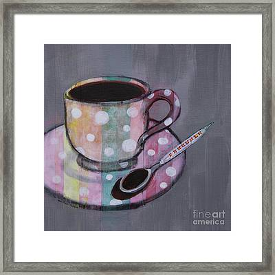 Pastel Stripes Polka Dotted Coffee Cup Framed Print