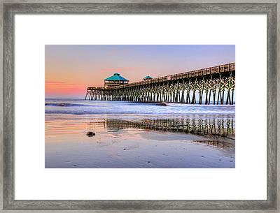 Pastel Sunrise On Folly Beach Pier In Charleston South Carolina Framed Print