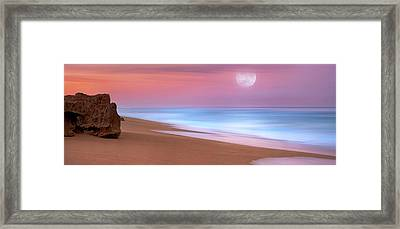 Pastel Sunset And Moonrise Over Hutchinson Island Beach, Florida. Framed Print