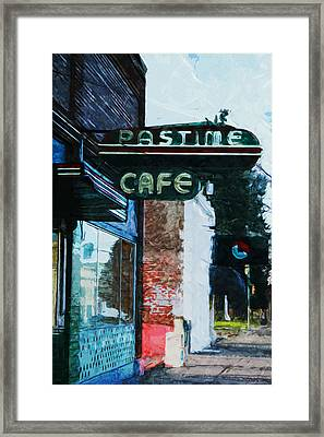 Pastime Cafe- Art By Linda Woods Framed Print