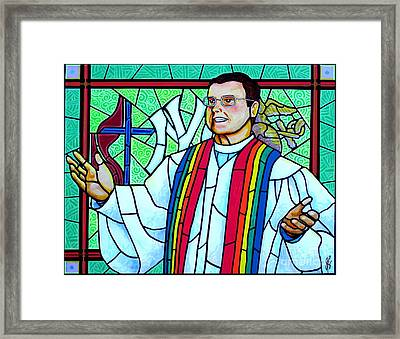 Framed Print featuring the painting Pastor Charlie by Jim Harris
