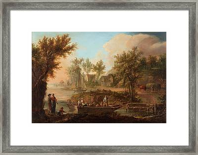 Pastoral Landscape With Figures And Boat Framed Print by MotionAge Designs