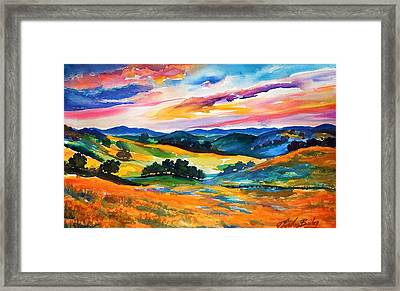 Pastoral Poppies On Yokohl Valley Framed Print by Therese Fowler-Bailey