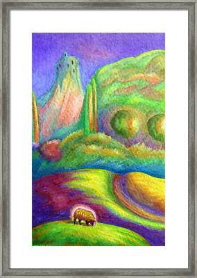 Pastoral With Glowing Sheep Framed Print by Jane Tripp