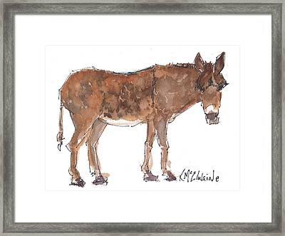 Pasture Boss 2015 Watercolor Painting By Kmcelwaine Framed Print
