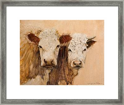 Framed Print featuring the painting Pasture Buddies by John Reynolds