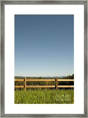 Pasture Fence And Grass In Mountains Framed Print by Will & Deni McIntyre