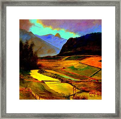 Pasture In The Mountains Framed Print