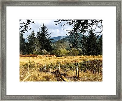 Framed Print featuring the photograph Pasture, Trees, Mountains Sky by Chriss Pagani