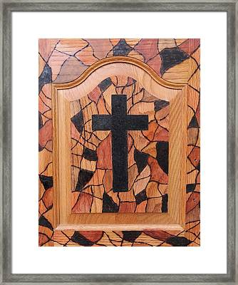 Framed Print featuring the pyrography Patchwork And Cross by Lisa Brandel