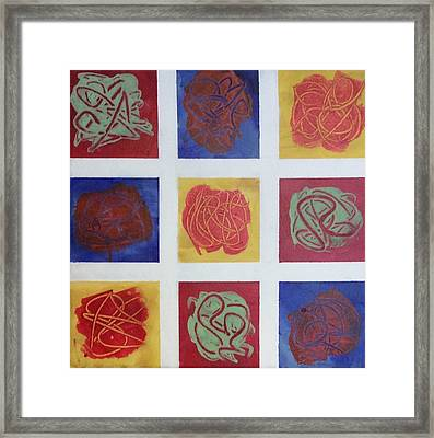 Patchwork Flowers 1 Framed Print by Mahlia Amatina