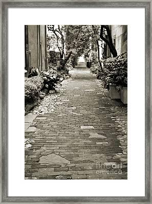 Patchwork Pathway In Sepia Aka Philadelphia Alley Framed Print