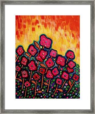 Patchwork Poppies Framed Print by Brenda Higginson