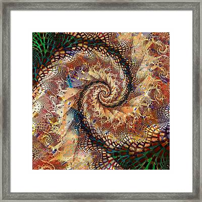 Framed Print featuring the digital art Patchwork Spiral by Richard Ortolano