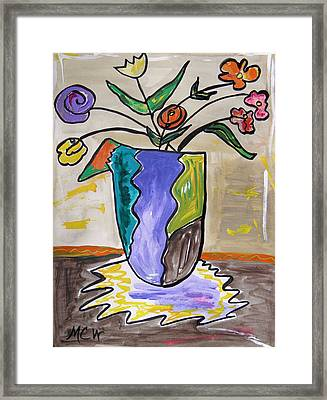 Framed Print featuring the painting Patchwork Vase by Mary Carol Williams