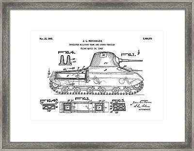 Patent Drawing For The 1943 Insulated Military Tank And Other Vehicle By J. L. Reynolds Framed Print