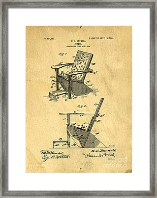 Patent For The First Adirondack Chair 1905 Framed Print by Edward Fielding