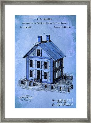 Patent, Improvement In Building Blocks For Toy Houses, Year 1872, Blue Art Framed Print