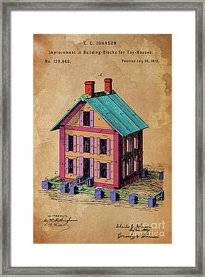 Patent, Improvement In Building Blocks For Toy Houses, Year 1872 Framed Print
