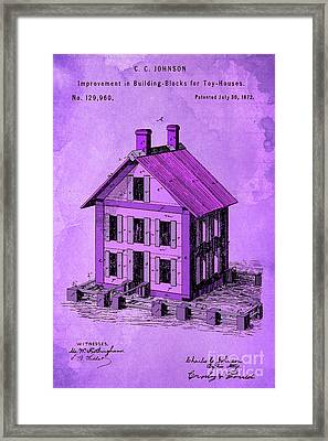 Patent, Improvement In Building Blocks For Toy Houses, Year 1872, Purple Art Framed Print