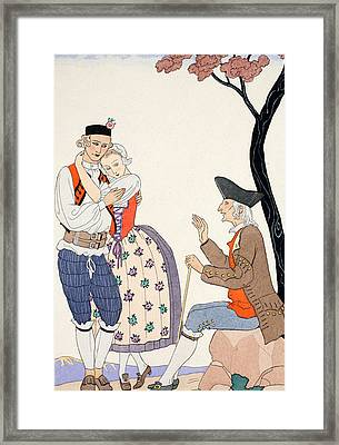 Paternal Blessing  Framed Print by Georges Barbier