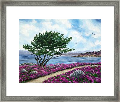 Path By A Cypress Tree In May Framed Print