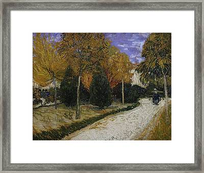 Path In The Park At Arles Framed Print by Vincent Van Gogh