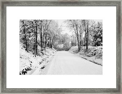 Path In The Snow Framed Print by Michelle Shockley