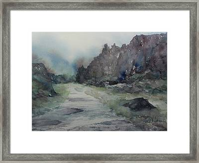 Framed Print featuring the painting Path In Thingvellir National Park, Iceland by Kim Fournier