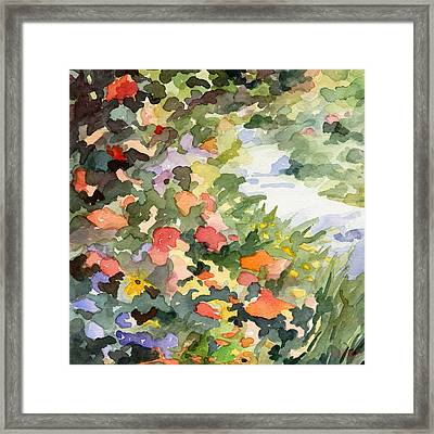 Path Monets Garden Watercolor Paintings Of France Framed Print by Beverly Brown