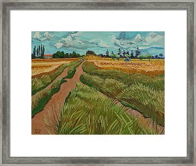 Path Through A Wheat Fields Framed Print by Vitali Komarov
