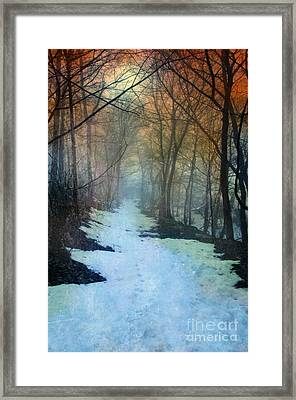 Path Through The Woods In Winter At Sunset Framed Print by Jill Battaglia