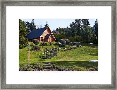 Rustic Church In The Argentine Patagonia Framed Print