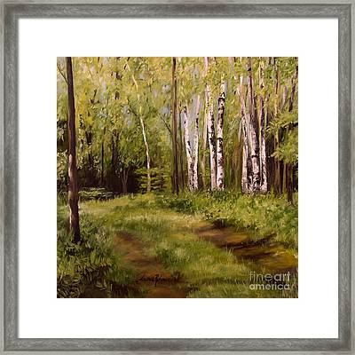 Framed Print featuring the painting Path To The Birches by Laurie Rohner