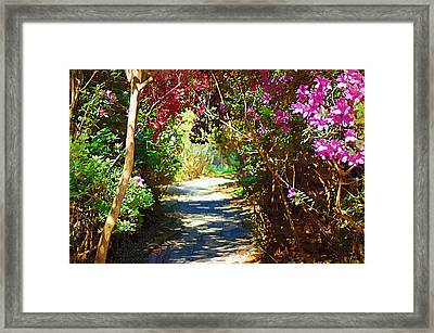 Framed Print featuring the digital art Path To The Gardens by Donna Bentley