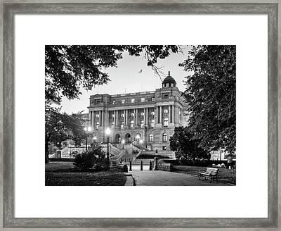Path To The Library In Black And White Framed Print