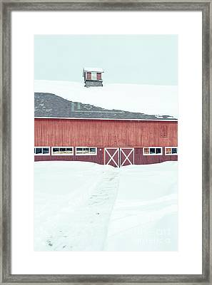 Path To To The Old Red Barn Framed Print