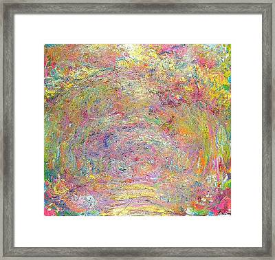 Path Under The Rose Trellises Framed Print