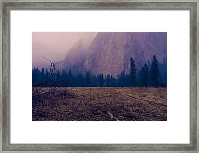 Pathway During First Snow In Yosemite Valley Framed Print